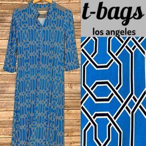 T-BAGS LOS ANGELES Geo-print blue/white maxi dress